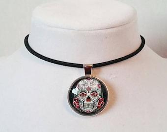 Sugar Skull Choker Day Of The Dead Choker Sugar Skull Necklace Skull Necklace Gothic Choker Gothic Jewelry Skull Jewelry Skull Choker
