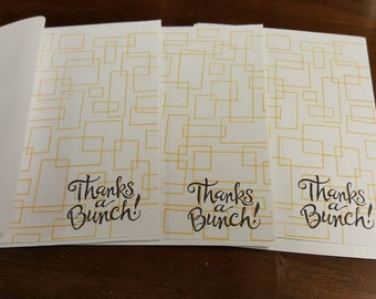 Hand stamped Thank you notes set of 3 yellow geometric background