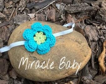 crochet baby headband, crochet flower headband, newborn headband.