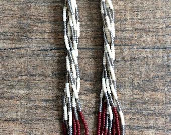 Beetlejuice. Handwoven Tassel Earrings. Seed Bead Earrings. Grey, White and Oxblood Earrings. Made to Order.