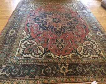 Persian rug antique HERIZ 8.2 x 11.3 low pile great condition washed clean