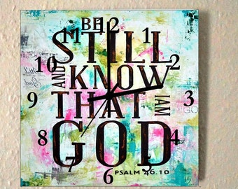 Large christian wall clock Psalm 46:10