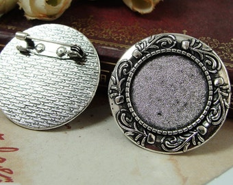 20pcs 20mm Zinc Alloy Antique Silver Circle Round Brooch Pin with flowers Bezel Cabochon Tray,Cameo Brooch Setting