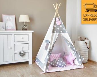 Tipi - Kids Play Tent Teepee - Cozy Grey Stars Pink