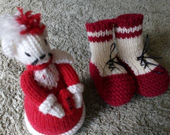 Go the Swans,a lovely pair of booties in football colours and handknitted also a toy mouse can also be used as a pincushion
