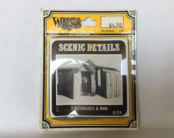 3 outhouses and man D-214 scenic details Woodland Scenes trains scenic detail kit miniatures model making supplies railroad scene HO scale