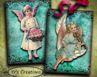 ANGEL CARDS - Printable Cards - Digital Collage Sheet - Greeting Cards - Paper Crafts - ATC Cards - Vintage Cards