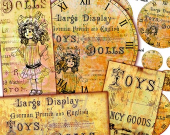 Antique Toy Clock Faces - DIY Printable Set of Clock Faces in Various sizes - 8 inch-4 inch - 3.5 inch... Scrapboking Journaling