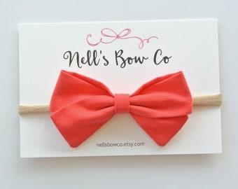 WATERMELON - Baby, Toddler, Girls, Fabric, Hair Bow, Headband, Hair Clip, Hair Accessories, Folded Hair Bow, Baby Shower Gift