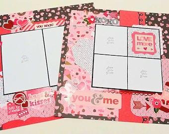 2-Page 12x12 Premade Scrapbook Layout, Valentine's Day
