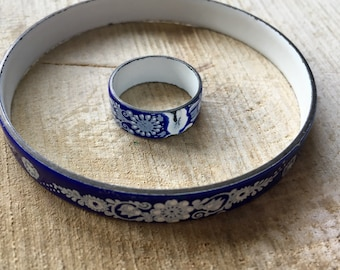 Set of GE-emailleerd bracelet and ring