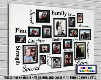 Family is... framed personalised bespoke Canvas Print with 17 pictures