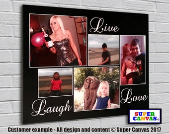 Live, Laugh and Love personalised Canvas Print with 5 pictures