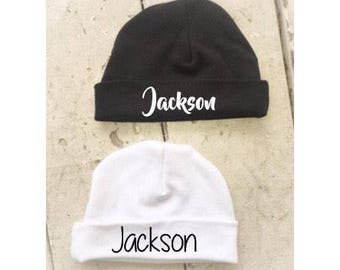 Custom Newborn Hat, Baby Hat, Baby Name Hat, Newborn Hospital Hat