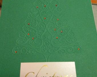 Embossed Christmas tree card