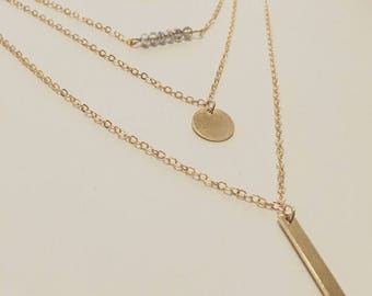 18k Gold Filled Layered Gold Bar Necklace