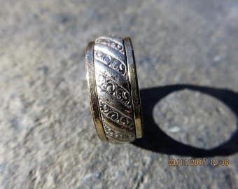 Victorian Sterling Silver Floral Band Ring with 10 K GF Gold Edges