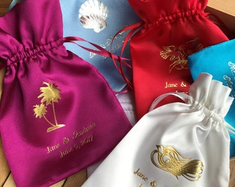 25 Personalized Satin Favor Bags Wedding, Birthday, Baby Shower,