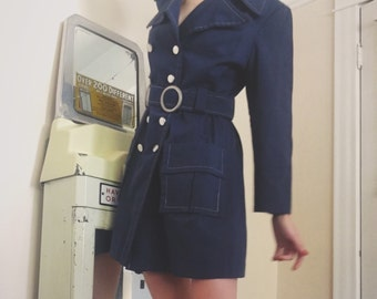 Mod 1960s Navy Coat Belted Double Breasted Short Trench Coat