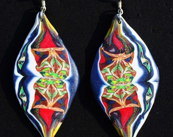 Psychedelic moon fimo earrings