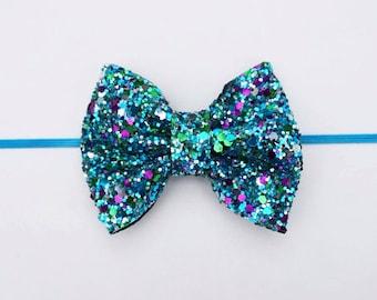 Chunky glitter bow on an alligator clip OR skinny elastic headband: mermaid inspired