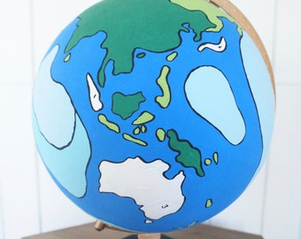 Hand Painted Globe - Painted to Look Like a Vintage Paint by Number
