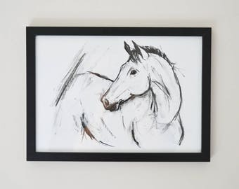A4 framed fine art print - Charcoal horse drawing