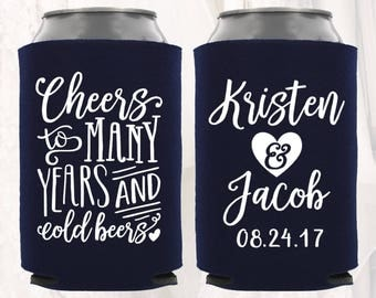 Personalized Wedding Can Cooler | Customized Wedding Favors | Beverage Insulators, Beer Huggers | Wedding Shower, Rehearsal Dinner Decor