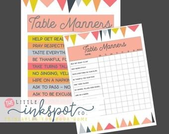 Kids Table Manners Set of 2 digital printables - kids chart printables - kids learning printables - manners chart for kids instant download