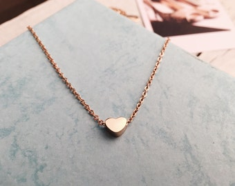 Rose Gold Pendant Necklace  Delicate Chain with Heart Charm Titanium Jewellery Minimalist Style