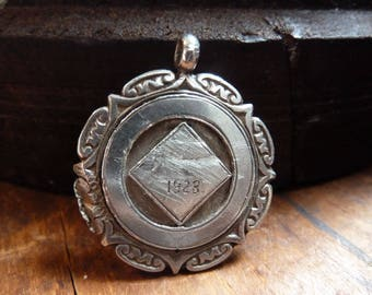 antique english hallmarked solid sterling silver 1928 pocket watch chain fob medal / vintage / sterling silver / unengraved