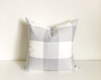 LISTING FOR HOLLI 20x20 Silver Gray and White Buffalo Check Plaid Zipper Pillow Cover