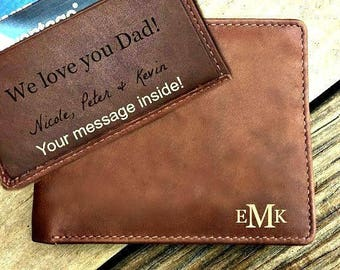 Personalized men's wallet • custom engraved wallet •  personalized gift for dad, monogrammed wallet • Fathers day gift • Toffee  7751*
