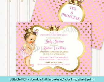 Little Royal Princess Pink & Gold Crown Jewels   Caucasian Vintage Baby   Editable PDF Digital Instant Download