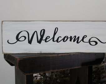 Welcome Sign, 1 FT Wood Sign, Farmhouse Sign, Family Sign, Marriage Sign, Wedding Sign, Home Decor, Rustic Sign, Distressed, Hand Painted