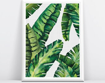 Banana Leaves, Banana Leaf Print, Palm Wall Decor, Tropical Leaves, Leaf, Tropical Print, Tropical Wall Art, Beach Decor, Botanical Print