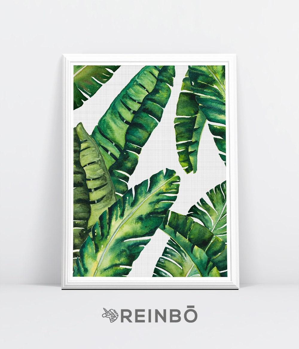Tropical Leaves Wall Decor : Banana leaves leaf print palm wall decor tropical