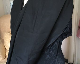 Beautiful French Antique Black Fringed Wrap Stole / 1900s / Beautiful Quality Possibly Silk Luxurious  French Scarf / 1930s Elegance
