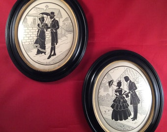 ON SALE:  Pair of Vintage C & A Richards Co Eileen V Dowd Framed Silhouettes - Colonial Days - 1940's - Framed