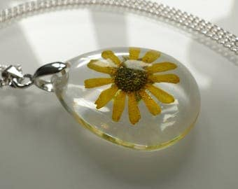 Petite pendants with dried yellow flower