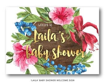 Vintage baby shower welcome sign, baby shower welcome sign, pink, blue, gold, wood, hibiscus, berry, Hawaiian, baby shower, tropical (Laila)