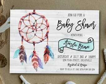Boho baby shower invitation, rustic baby shower invitation, dreamcatcher baby shower invitation, vintage, rustic, tribal, wood (Ainslee)