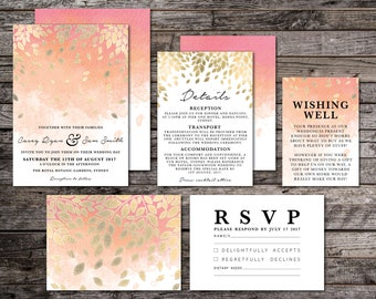 PRINTED Peach and Gold Ombre Watercolour | Watercolor Wedding Suite, Wedding Invite, Pink, Peach, Orange, Botanic, Leaf, Leaves (Falling)