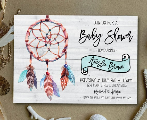 boho baby shower invitation rustic baby shower invitation