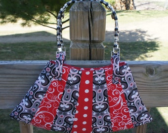 Classy Red and Gray hand made purse with Beaded Handle