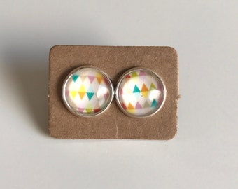 Multi Colored Bunting Glass Studs