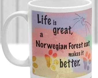 Norwegian Forest cat cat mug, Norwegian Forest cat cat gift, ideal present for cat lover