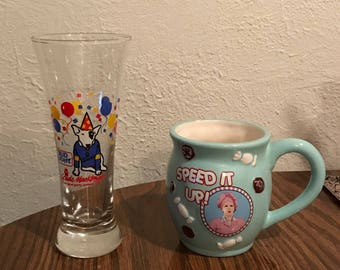 Spuds Mackenzie glass, and Lucy cup, #283