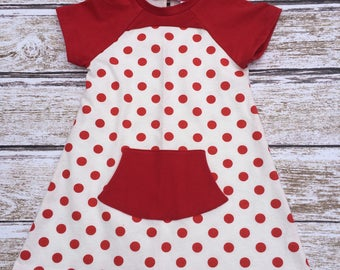 Girls Back To School Dress - Toddler Dress - Girls Red and White Polka Dot Knit Dress -  - Toddler Birthday Dress - Girls Casual Dress