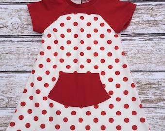 SALE - Girls Dress - Toddler Dress - Girls Polka Dot Dress - Girls Birthday Dress - Girls Red Polka Dot Dress